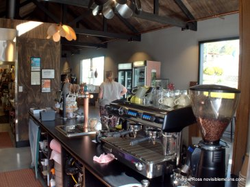 The view from behind the barista station at The Farm Shed East Coast Wine Centre